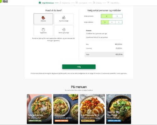 Vælg af måltidskasser med rabatkode